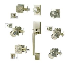 Satin Nickel door Lock Square plate round Knobs entry privac