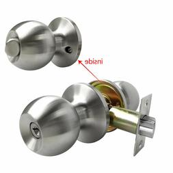 Satin Nickel Home Door Knob Lock Handle Lock Set Entry Priva