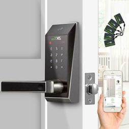 Smart Keyless Door Lock  APP + Code + Mifare Card +Key Deadb