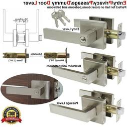 Stain Door Handle Lever Lock Set Entry Privacy Passage Dummy