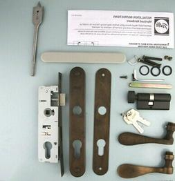 Pella storm door hardware with curved handle and mortise loc