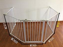 Bebemooi White Auto Baby Safety Fence BBQ Fire Gate Fireplac